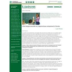 L'apprentissage d'une langue seconde - Liaison - Université de Sherbrooke - Vol. 40 - No 12