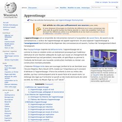 Apprentissage / Wikipedia