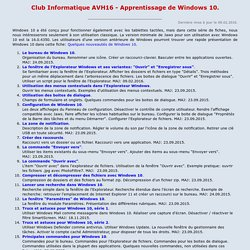 Apprentissage de Windows 10