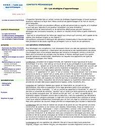 P.P.R.E. : l'aide aux apprentissages - Stratégies d'apprentissage