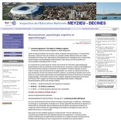 Neurosciences, psychologie cognitive et apprentissages - Circonscription de Meyzieu - Décines