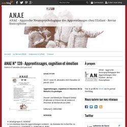 ANAE N° 139 - Apprentissages, cognition et émotion