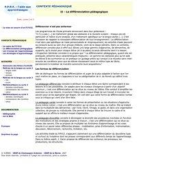 P.P.R.E. : l'aide aux apprentissages - Différentiation pédagogique