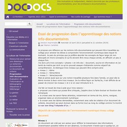 Essai de progression dans l'apprentissages des notions info-documentaires - Doc pour docs