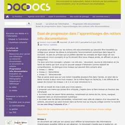 Essai de progression dans l'apprentissages des notions info-documentaires