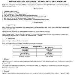 APPRENTISSAGES MOTEURS ET DEMARCHES D'ENSEIGNEMENT