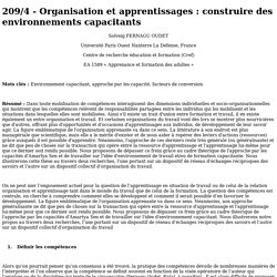 209/4 - Organisation et apprentissages : construire des environnements capacitants