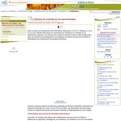 L'influence du contexte sur les apprentissages- Centre Académique Recherche- Développement, Innovation et Expérimentation