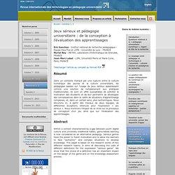 Jeux sérieux et pédagogie universitaire: de la conception à l'évaluation des apprentissages