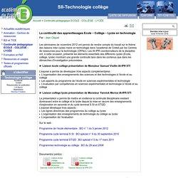 La continuité des apprentissages Ecole – Collège – Lycée en technologie