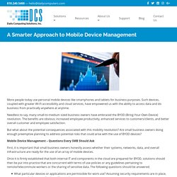 A Smarter Approach to Mobile Device Management - Daily Computing Solutions