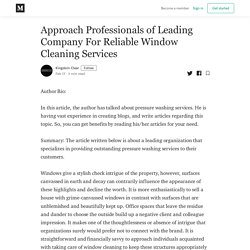 Approach Professionals of Leading Company For Reliable Window Cleaning Services
