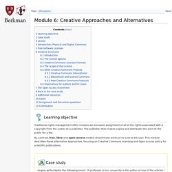 Module 6: Creative Approaches and Alternatives - Copyright for Librarians