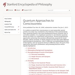 Quantum Approaches to Consciousness