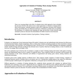 Approaches to Evaluation of Training: Theory & Practice