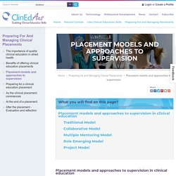 Placement Models and Approaches to Supervision - ClinEdAus