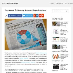 Monetize Your Blog By Directly Approaching Advertisers