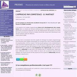 L'APPROCHE PAR COMPETENCE - B. MARTINET