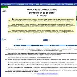 APPROCHE DE L'INTRICATION DE L'AFFECTIF ET DU COGNITIF