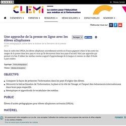 Une approche de la presse en ligne avec les élèves allophones- CLEMI
