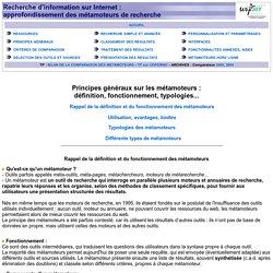 Approfondissement des métamoteurs : principes généraux. URFISTde Rennes