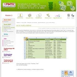 Le tri multi-critères - Approfondissons - Manipuler les données - Excel 2007