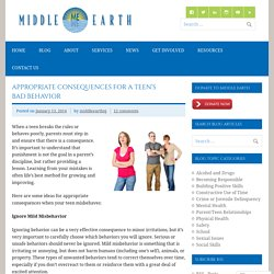 Appropriate Consequences for a Teen's Bad Behavior
