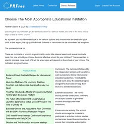 Choose The Most Appropriate Educational Institution
