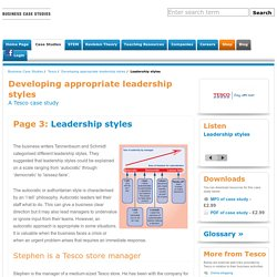 Leadership styles - Developing appropriate leadership styles - Tesco