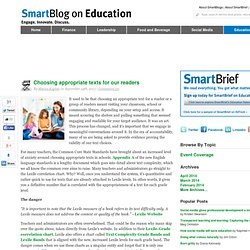 SmartBlog on Education - Choosing appropriate texts for our readers - SmartBrief, Inc. SmartBlogs SmartBlogs