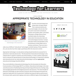 Appropriate Technology in Education