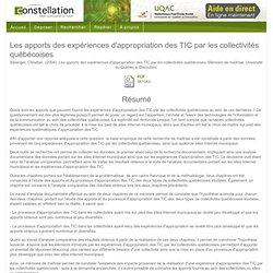 Les apports des expériences d'appropriation des TIC par les collectivités québécoises