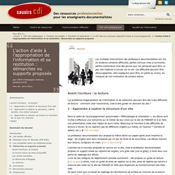 L'action d'aide à l'appropriation de l'information et sa restitution : démarches ou supports proposés