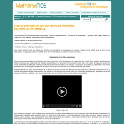 TICE et appropriation du temps en Moyenne Section de Maternelle.