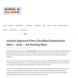 Instant Approval Free Classified Submission Sites – 2021