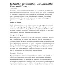 Factors That Can Impact Your Loan Approval for Commercial Property