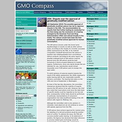GMO COMPASS 23/09/10 USA: Dispute over the approval of genetically modified salmon