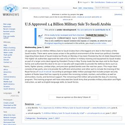 U.S Approved 1.4 Billion Military Sale To Saudi Arabia - Wikinews, the free news source
