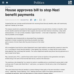 House approves bill to stop Nazi benefit payments