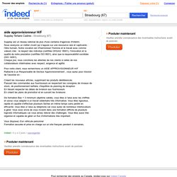 Emploi aide approvisionneur H/F - Supplay Tertaire Cadres - Strasbourg (67)