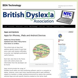 Apps and dyslexia