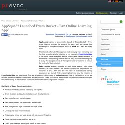 "AppSquadz Launched Exam Rocket - ""An Online Learning App"""