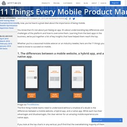 11 Things Every Mobile Product Manager Needs to Know
