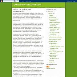 Evaluación de los Apredizajes: AUTOEVALUACION