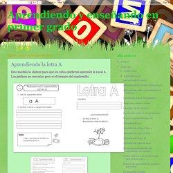 Aprendiendo y enseñando en primer grado: septiembre 2012
