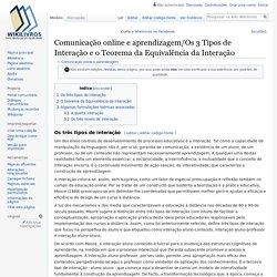 Comunicação online e aprendizagem/Os 3 Tipos de Interação e o Teorema da Equivalência da Interação