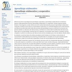 Aprendizaje colaborativo/Aprendizaje colaborativo y cooperativo - Wikilibros