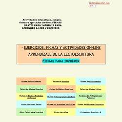 FICHAS PARA IMPRIMIR PARA APRENDER A LEER:EJERCICIOS DE APRENDIZAJE DE LA LECTOESCRITURA ON LINE PARA INFANTIL Y PRIMARIA