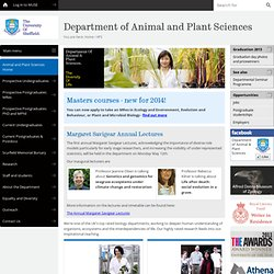 Animal and Plant Sciences