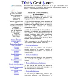 Tests de Aptitud Verbal: Tests de Vocabulario Gratis